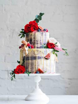 White Chocolate Drip Wedding Cake less