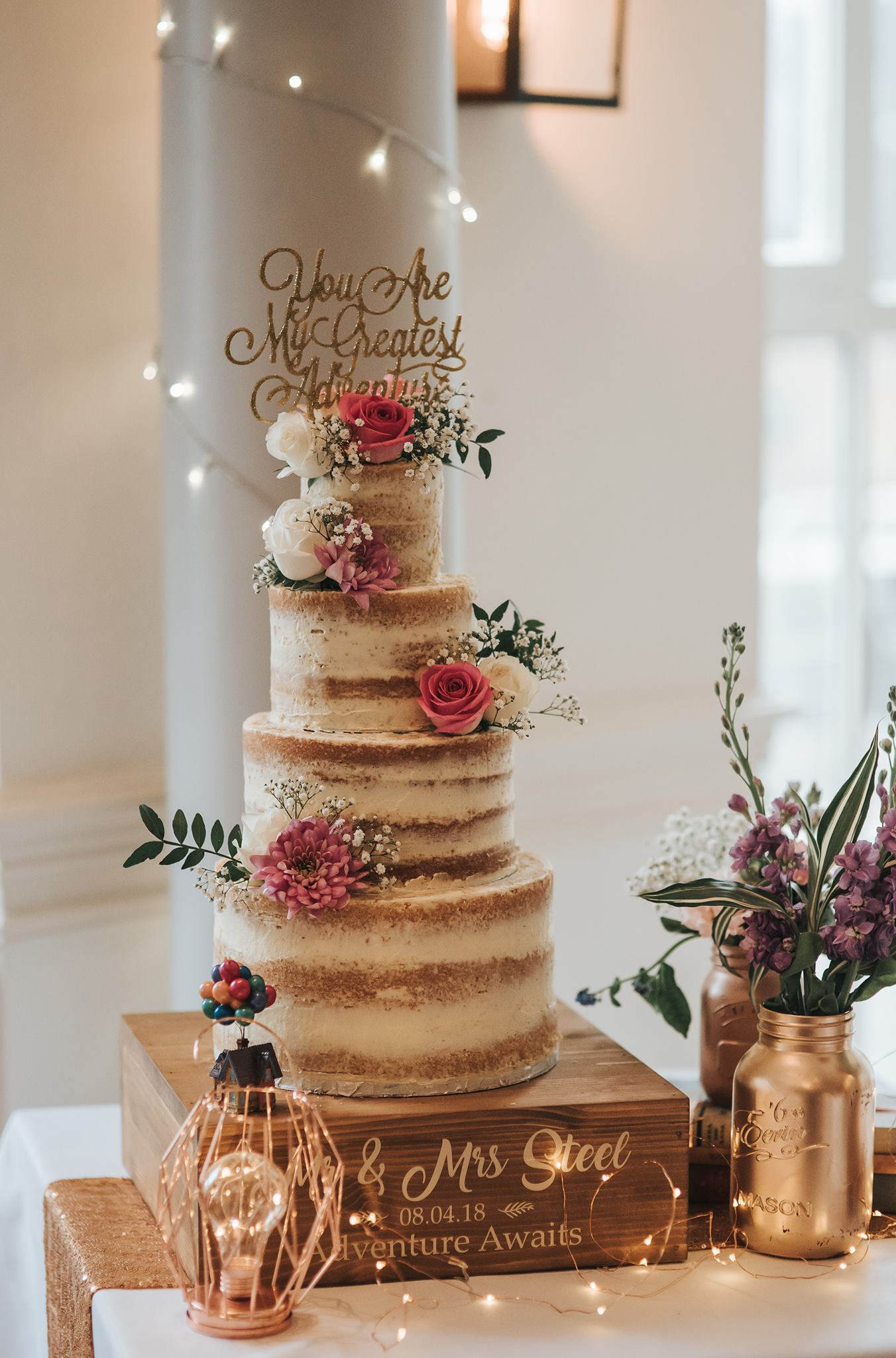4 Tier Semi Naked Cake