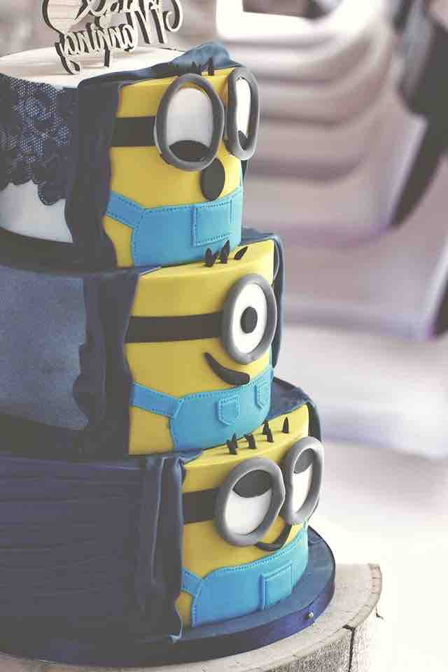 Hidden Minion Wedding Cake less