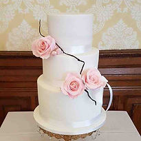 Simple White Wedding Cake with Pink suga