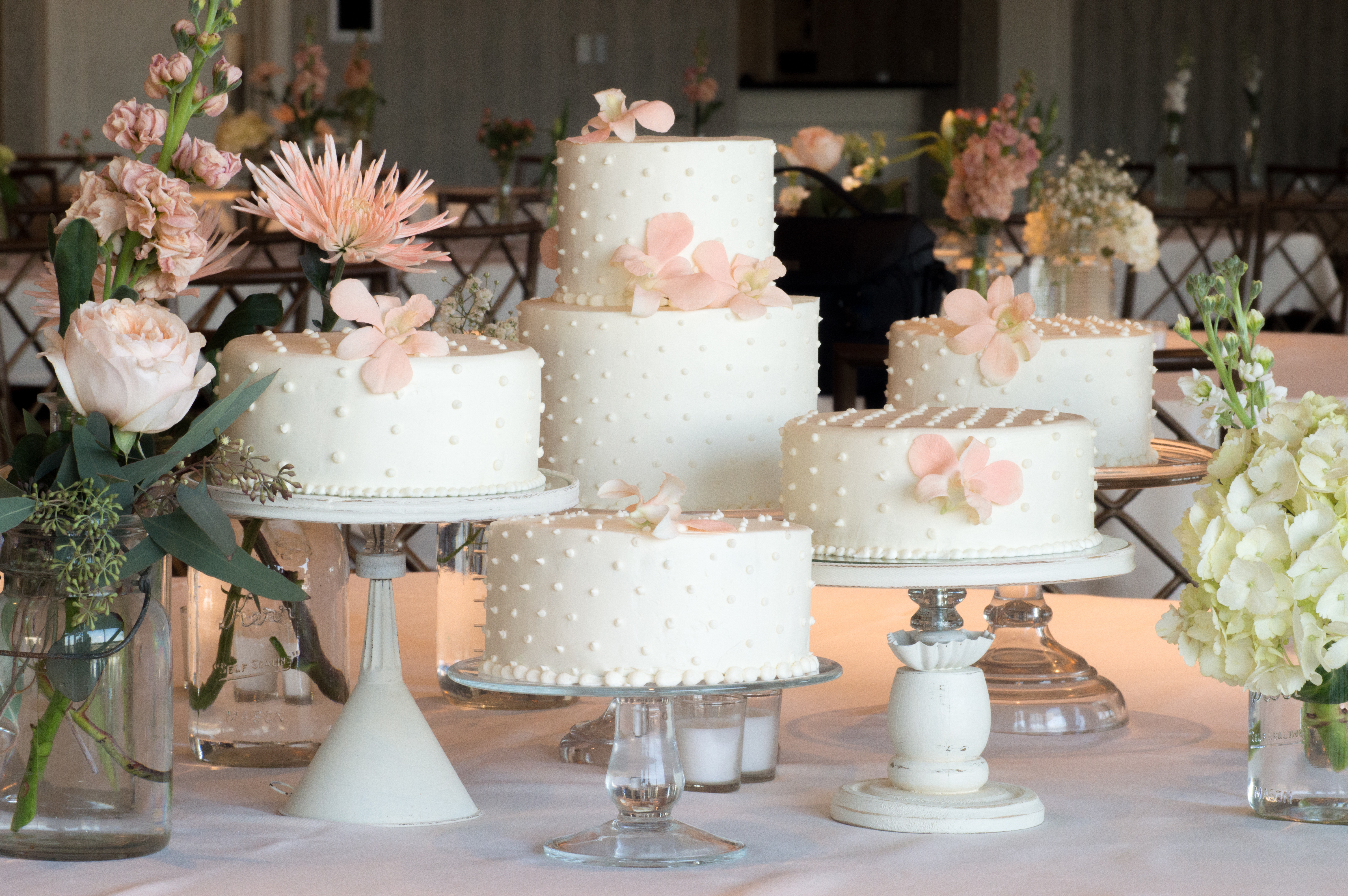 Separate elegant wedding cakes