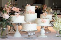 Separate elegant wedding cakes