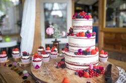 vibrant semi naked wedding cake