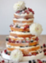 Naked 3 Tier Wedding Cake with Fruit and Flowers