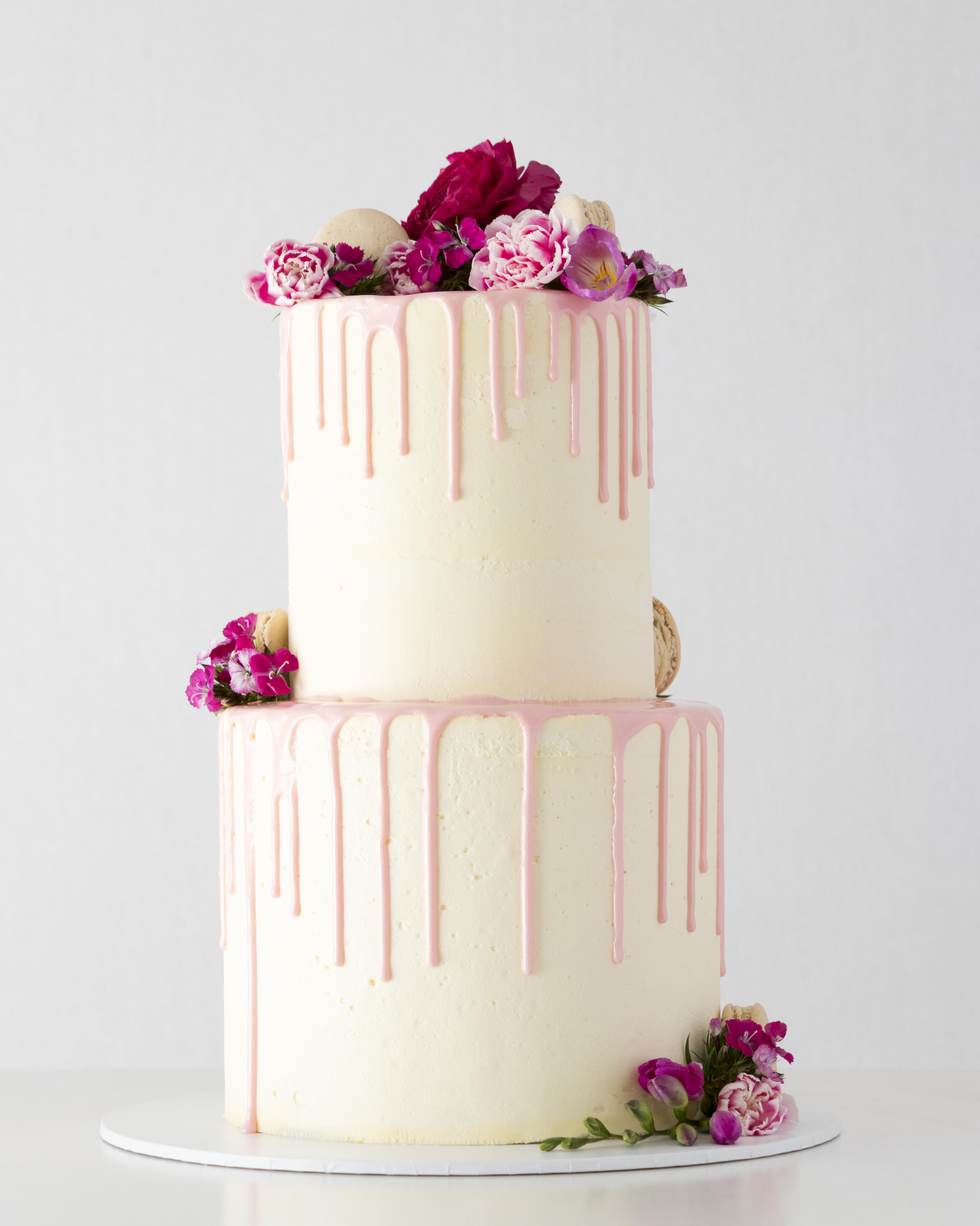 Pink drip wedding cake