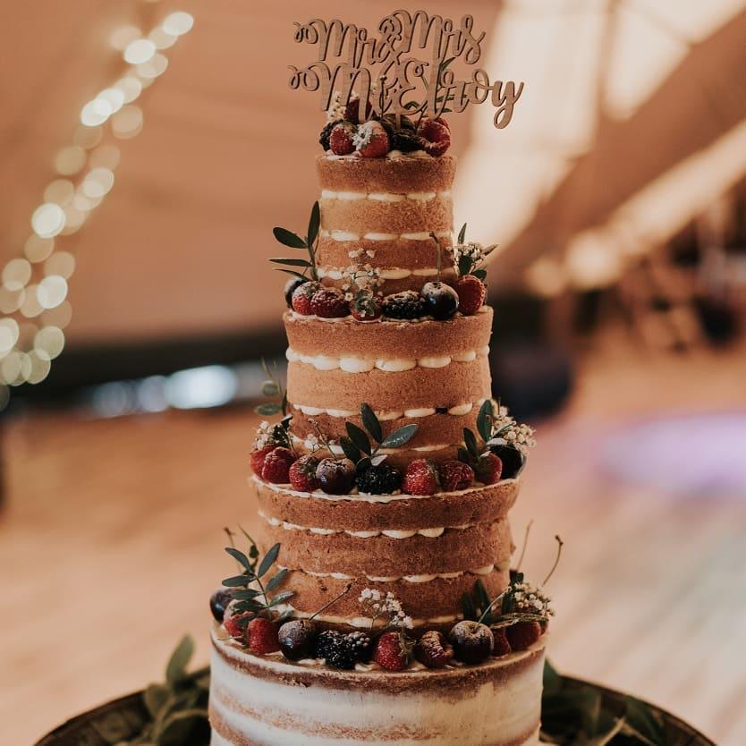 Naked and Semi Naked Rustic Wedding Cake