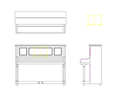 CAD DRAWING OF UPRIGHT PIANO