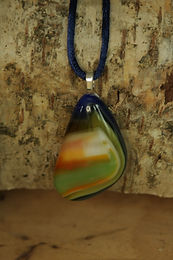 2872 - Triangular multi-coloured glass pendant