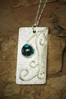 3266 - rectangle, blue glass and swirls