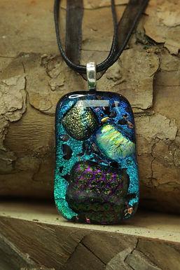 3707 - Patchwork bluey turquoise glass pendant