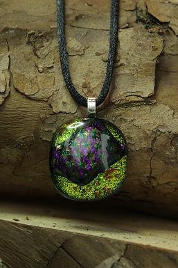 3735 - Lime green/purple & green dichroic glass round pendant