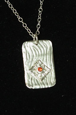2971 - Rectangle with flower and stone centre