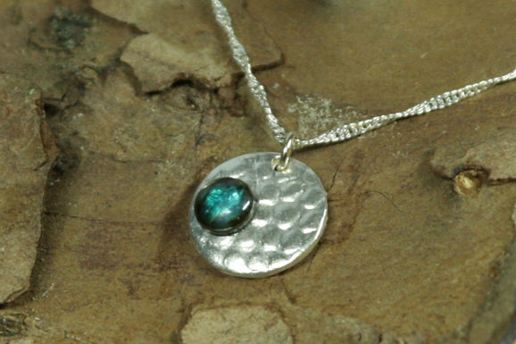 5513 - Small bubble textured circle with greeny blue cabochon