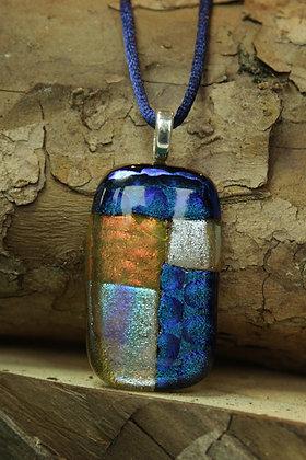 3721 - Patchwork white/blue rectangular glass pendant