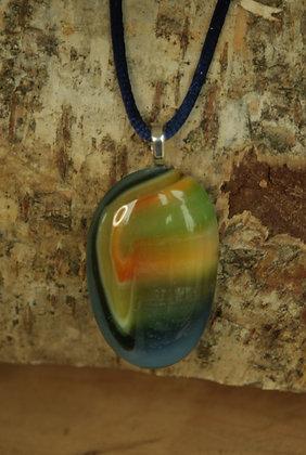 2869 - Green/orange/blue glass pendant