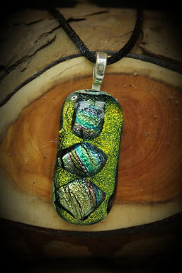 3693 - Lime green glass rectangle with 3 dichroic shapes
