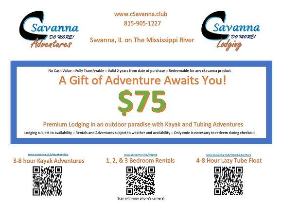 $75 cSavanna Gift Certificate