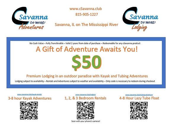 $50 cSavanna Gift Certificate
