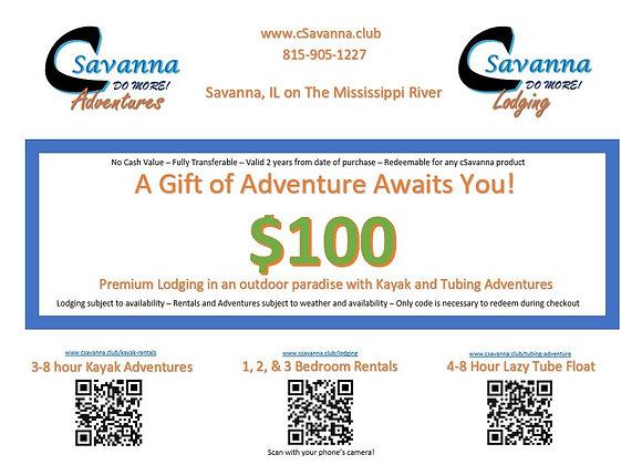 $100 cSavanna Gift Certificate