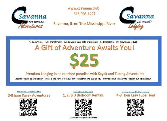 $25 cSavanna Gift Certificate