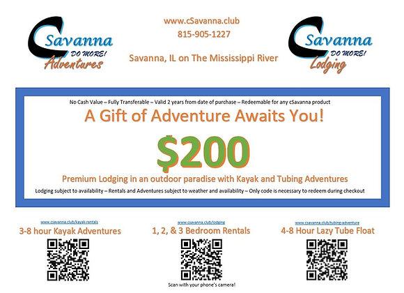 $200 cSavanna Gift Certificate