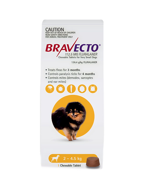 Bravecto 2 - 4.5kgs Tick and Flea and Mites (1 x Chewable)