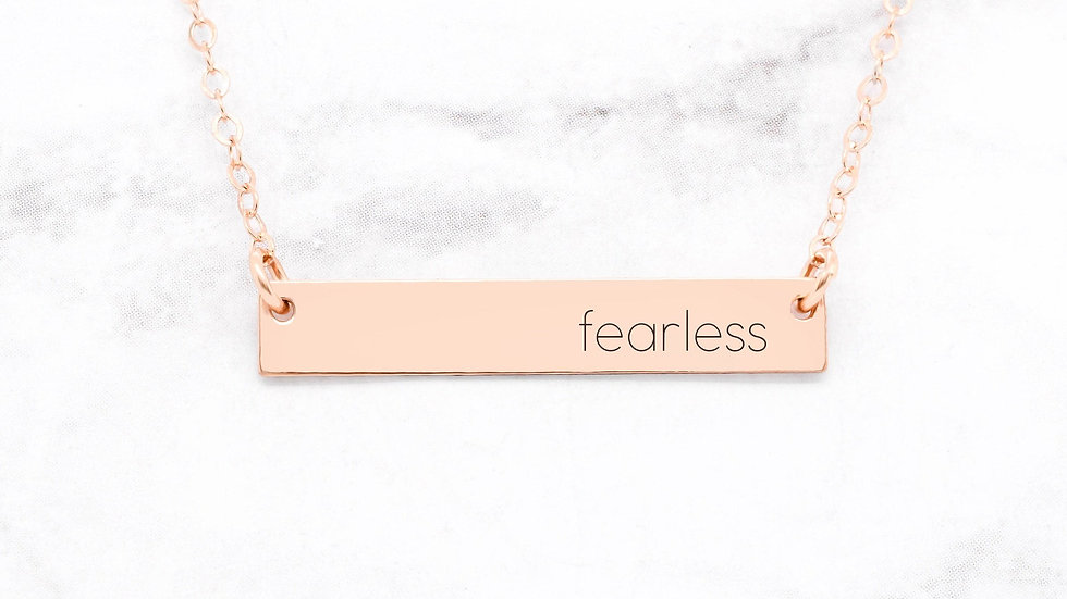 Fearless - Rose Gold Quote Bar Necklace
