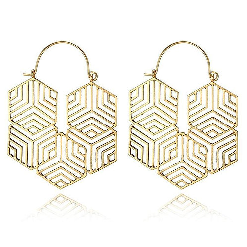 Hex -Gold Earrings