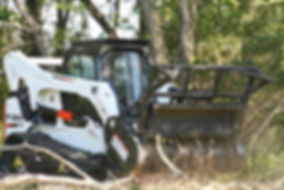 Bobcat tractor cutting down trees