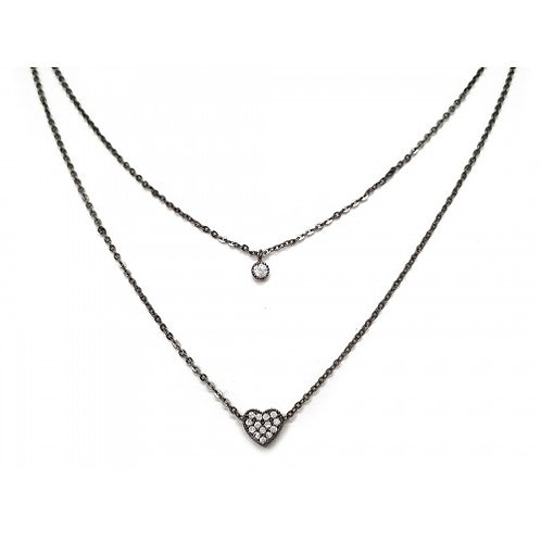 Double Chain Heart Necklace