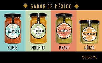 """YOLOTL bietet Gourmet Lebensmittel mit dem authentischen """"Sabor de México"""" aus frischen, hochwertigen Zutaten ohne Geschmacksverstärker oder Konservierungsstoffe. Mit viel Liebe handgemacht."""