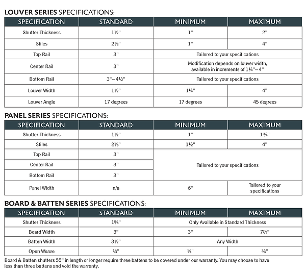 Catalog - Shutter Specifications REDWOOD