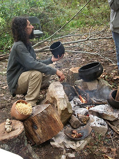 native cooking demonstration, Kentucky archaeology, primitive technology, Woodland Indians, native technology