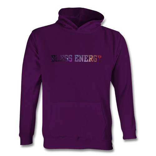 Youth purple BE hoodie galaxy font front