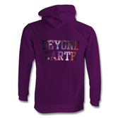 Youth purple BE hoodie galaxy font back.