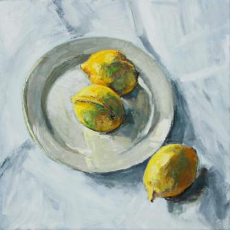Stilleven met drie citroenen, 50x50, 201