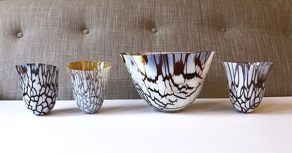 Glass vessel, crackle in cream, grey nd tortoiseshell effect