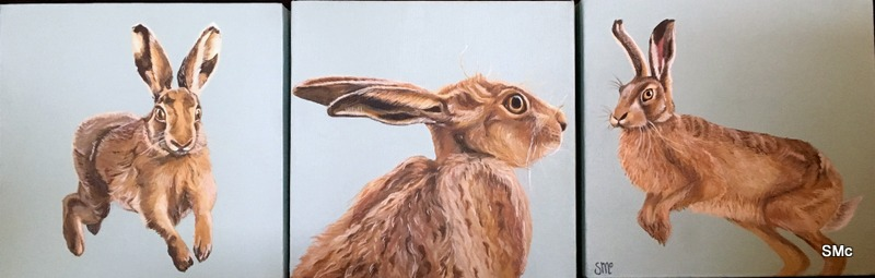 Tryptich of Startled hares