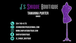 J's Shique Boutique Business CardArtboar