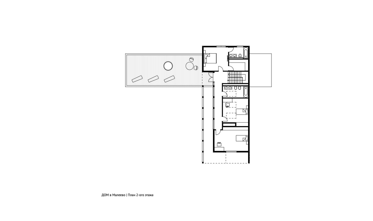 План 2-ого этажа дома в Малеево