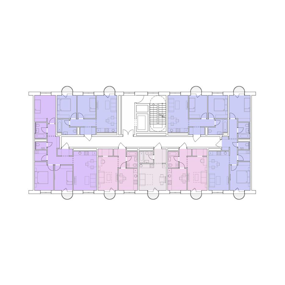 план корпуса ЖК Вишневый сад в Ижевске | son architecture