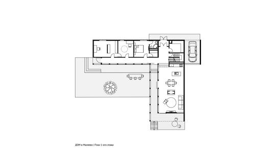 План 1-ого этажа дома в Малеево