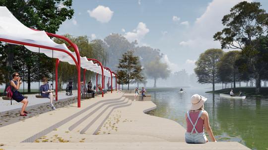 Главный пруд в Гагаринском парке