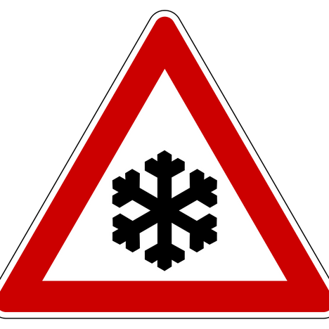Traffic Warning sign for ice