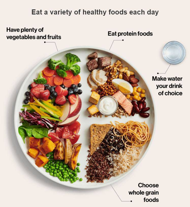 An image of Canada's new food guide with fruits, vegetables, proteins and whole grain foods. Suggestion above to eat a variety of healthy foods each day.