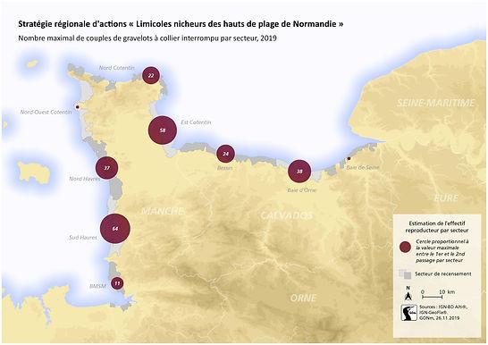 Carte établié par le Groupe Ornithologique Normand