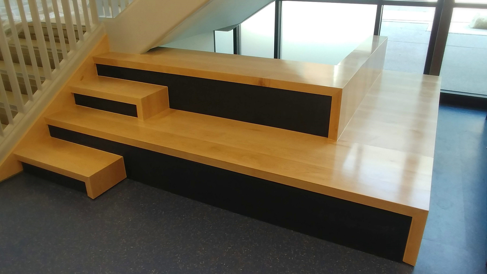 Wood stairs and benches