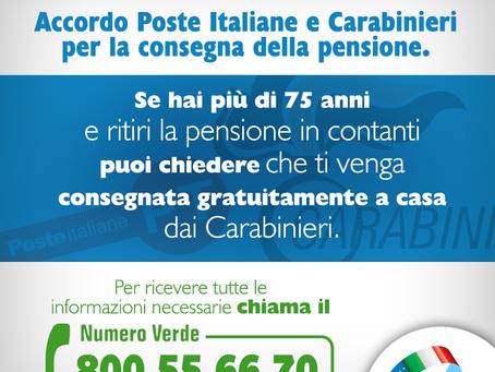 Accordo Poste Italiane e Carabinieri per la consegna della pensione a domicilio