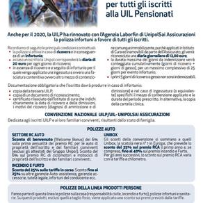 Garanzie assicurative 2020: Polizza infortuni per tutti gli iscritti alla Uil Pensionati