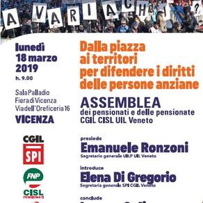 Il 18 marzo assemblea dei pensionati Cgil Cisl e Uil Veneto